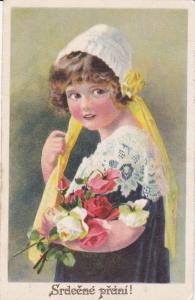 Girl wearing bonnet holding bouquet of flowers, Srdeene prcini!, 10-20s