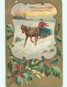 Pre-Linen christmas WOMAN RIDES ON HORSE DRAWN SLED W7251