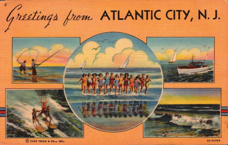 Postcard New Jersey Atlantic City Greetings From Atlantic City Linen Unposted F1