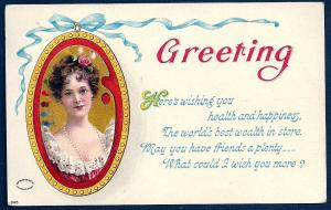Birthday Greetings Portrait of Woman Used c1909