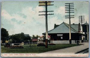ANGOLA NY LAKE SHORE RAILROAD STATION ANTIQUE POSTCARD railway train depot