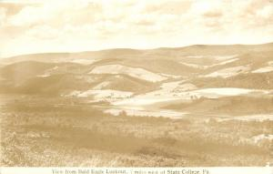 State College Pennsylvania~View from Bald Eagle Lookout~1930s Real Photo~RPPC