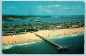 Postcard MD Ocean City Maryland Aerial View Beach Homes Fishing Pier X7