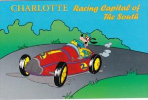 Goofy In Race Car Having Fun In Charlotte