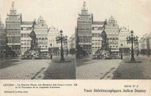 Stereo postcard Anvers Antwerp Belgium Grande Place Fontaine Maisons street lamp
