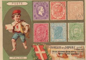 TC: POSTE ITALIANE , Boy w/ Letter & Stamps , 1880-90s