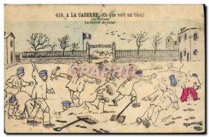 Old Postcard Army barracks A snow chore