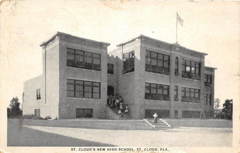 E5/ St Cloud Florida Fl Postcard 1925 New High School Building