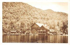 LP55   RPPC  Blue Mountain Lake New York Steamboat Landing    Vintage Postcard