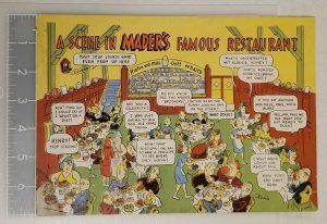 Vntge Jumbo Colorful Postcard MADER'S Famous German Restaurant Stamped Milwaukee