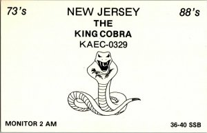 QSL Radio Card From Imlaystown N. J. New Jersey KAEC-0329