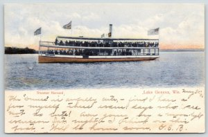 Lake Geneva Wisconsin~Steamer Harvard~Crowded Double Deck Excursion Boat~1906