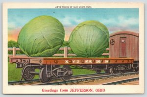 Proud of Our Crops in Jefferson Ohio~Exaggerated Cabbage on RR Car~1940s Linen