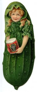Advertising Trade Card - Heinz Pickle, Girl Holding Soup    (5H X 1.75W Die...