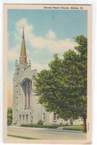 Sacred Heart Church Moline Illinois linen postcard