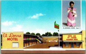 Lamar, Colorado Postcard EL DONNA MOTEL Highway 50 Roadside c1950s Chrome Unused