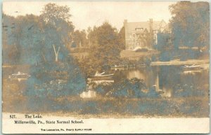 1906 Millersville PA RPPC Real Photo Postcard The Lake - State Normal School