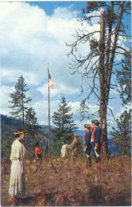 Lewis-Clark Expedition in 1805 Planted and American Flag in