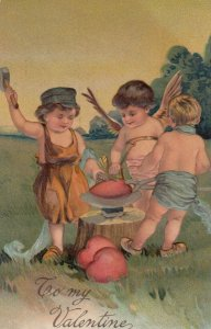 AS: VALENTINE, PU-1910; Cupid helping boy blacksmiths make red hearts, PFB 8032