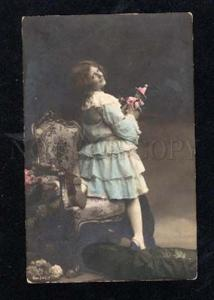 014163 Clown DOLL & Lovely Girl as Model Vintage PHOTO tinted