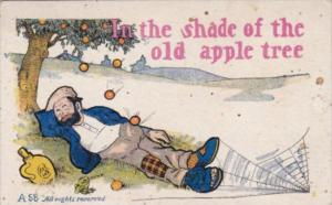 Humour Drunk Man Under Tree In The Shade Of The Old Apple Tree