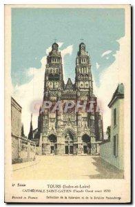 Old Postcard Tours Indre et Loire Cathedrale Saint Gatien Facade West before ...
