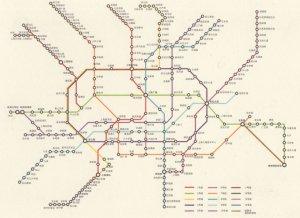 Shanghai Chinese Train Subway Underground Map Postcard