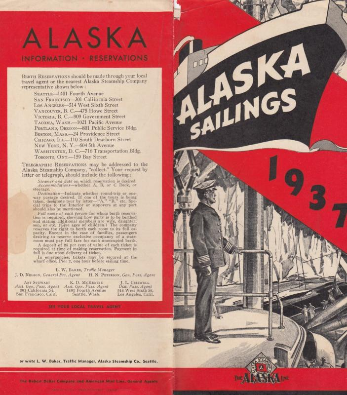 Alaska Sailings 1937 Pmphlet , The ALASKA Line, ships , map , time tables
