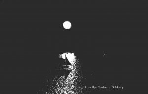 New York Moonlight On The Hudson Rotograph