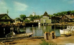 Maine Kennebunkport Harbor View With Congregational Church In Background