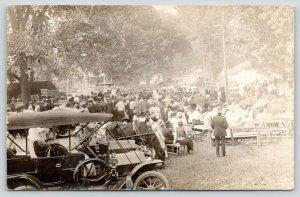 Hartland VT Sesquicentennial~Seated Folk Await Program RPPC Vintage 1913 Cars PC