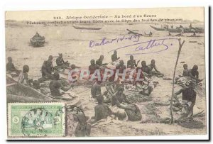 West Africa Old Postcard On board & # 39un River Fishermen confectionnat with...