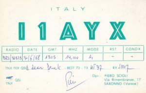 Saronno Varese Italy QSL 1960s Old Amateur Italian Radio Postcard