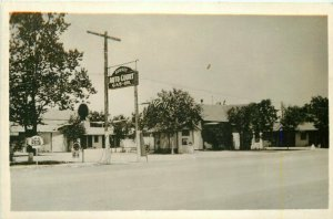 Gas Station Sunset Auto Court Shell 1920s RPPC Photo Postcard 9008