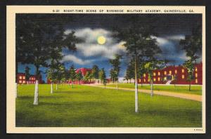 Night Time View Riverside Military Academy Gainsville Georgia Unused c1930s