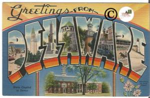Vintage Big Letter Postcard Greetings From Delaware Large Letter Linen Postcard