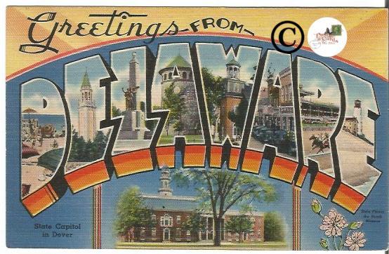 Vintage Big Letter Postcard Greetings From Delaware Large Letter Linen Postcard