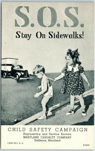 1940s Linen Postcard MARYLAND CASUALTY Child Safety S.O.S. - Stay On Sidewalks