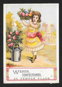 VICTORIAN TRADE CARD Weber Confectioner Girl, Basket of Flowers & Watering Pail