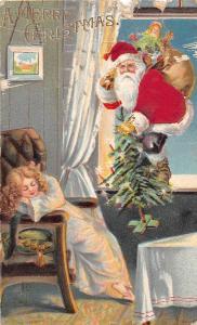 E38/ Santa Claus Merry Christmas Holiday Postcard c1910 New Era Michigan Window4