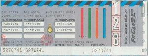 65198  - BIGLIETTO PARTITA CALCIO - UEAFA CUP 1990 : INTER / Partizan Belgrade