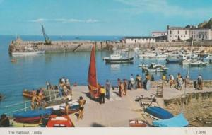 Man Pushing Sailing Boat Into Water Tenby Harbour 1970s Postcard