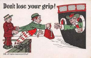 Comic Pun~Don't Lose Your Grip!~Man Stretches Across Water to Ship~Satchel~EB&E