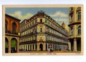 176545 Habana HAVANA Plaza HOTEL Flag USA Vintage color PC