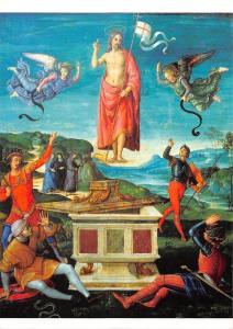 Raffael, Auferstehung Christi, um 1499 Ol auf Holz Museu de Arte, Sao Paulo