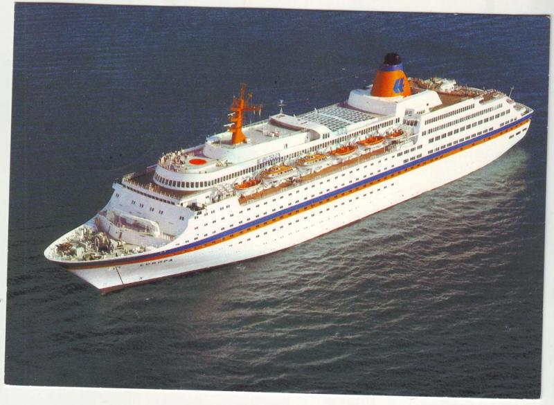 PC41 JLs postcard 1986 ship ss europa germany ship cancel