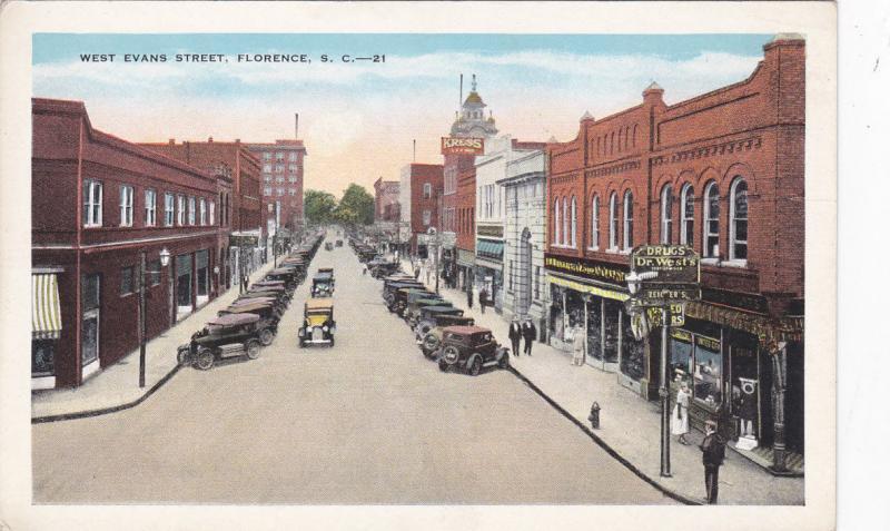 FLORENCE , South Carolina, 1910s ; West Evans Street at Drug Store