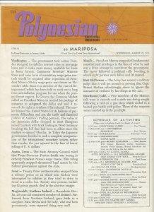 S.S. Mariposa , JUNEAU, Alaska, 1971 ; The Polynesian Newsletter