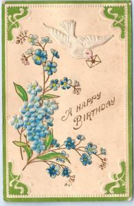 Vintage HAPPY BIRTHDAY Greetings Postcard Add-on White Dove & Blue Flowers 1909