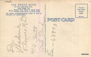 1940s Oak Park Illinois Oak Manor Hotel Roadside linen postcard 9753 Teich